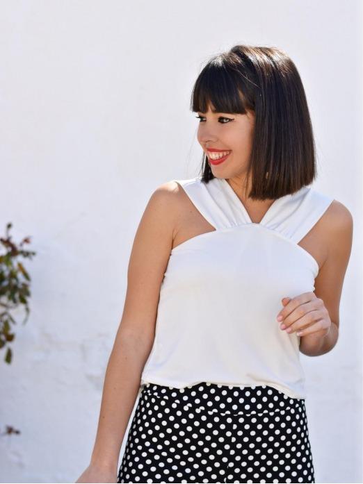 Top Alicia - top arreglado blanco - blusa - Mariquita Trasquilá