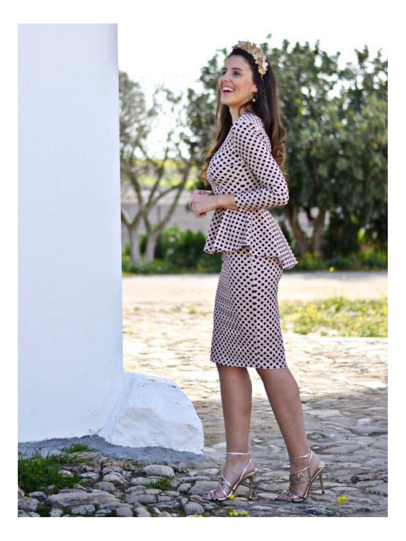 Vestido Peplum Sara Topos - Vestido de fiesta con volante - vestido para bodas - vestido de lunares - Mariquita Trasquilá