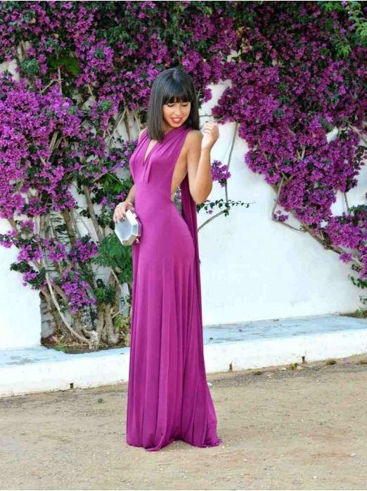 Vestido Largo Lazada, vestido de fiesta con espalda al aire, vestido de invitada de largo, Mariquita Trasquila