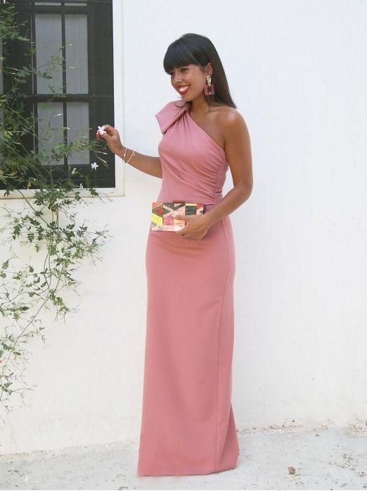 Vestido Largo Asimetrico M.T, vestido largo rosa, vestido de fiesta largo, vestido de fiesta barato, Mariquita Trasquila
