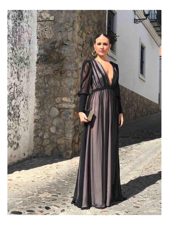 Vestido de fiesta, vestido de noche, vestido de gasa largo, vestido con escote, invitada perfecta, Mariquita Trasquilá