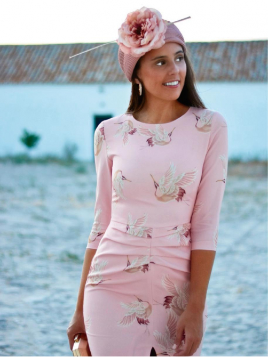 Vestido Print Grulla, vestido de fiesta corto, vestido para invitada, Mariquita Trasquila