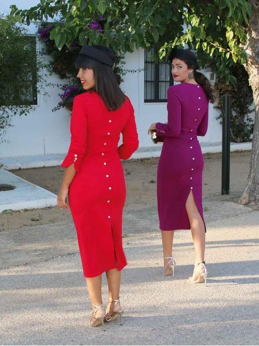 Vestido Midi Lucía, tienda online vestidos de fiesta, vestido abotonado trasero, Mariquita Trasquila