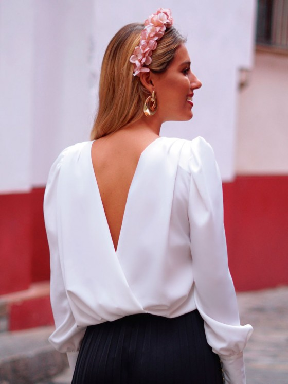 Blusa Lina, blusa blanca, blusa cruzada, Mariquita Trasquilá