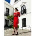 Vestido Flecos de Blanca, vestido de fiesta rojo, invitada perfecta, Mariquita Trasquilá