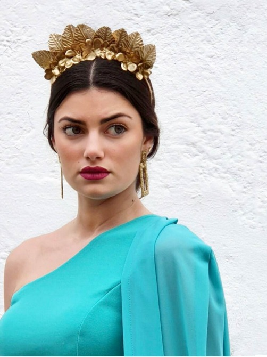 Diadema de Hojas Doradas, invitada perfecta, complementos para bodas, Mariquita Trasquilá