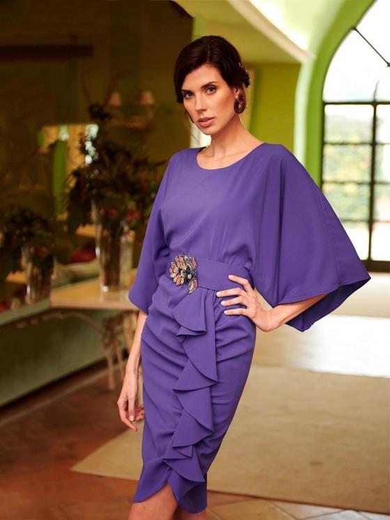 Vestido Volante Púrpura, vestido de fiesta corto, invitada perfecta, Mariquita Trasquilá