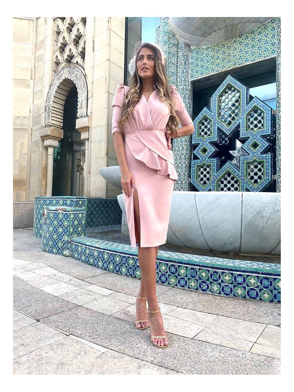 Vestido de Fiesta Rosa Nude, vestido invitada boda, vestido de fiesta corto, Mariquita Trasquilá