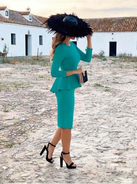 Vestido Fiesta Peplum Sara, vestido de fiesta, vestido con volante, Mariquita Trasquila