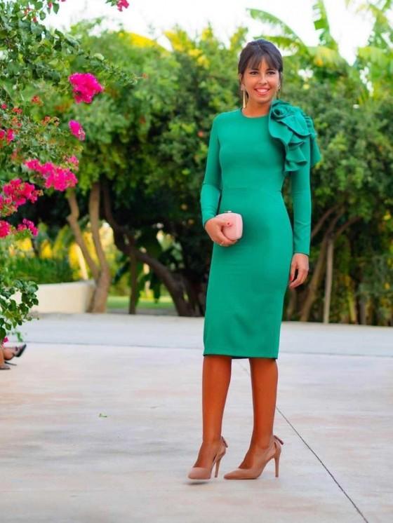 Vestido de fiesta, invitada perfecta, flor verde, tienda online, Mariquita Trasquilá