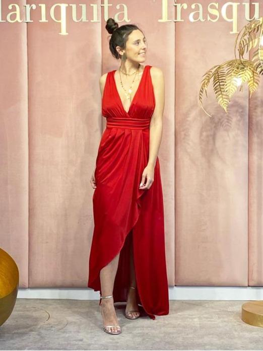 vestido largo de fiesta, vestido de fiesta barato, vestido rojo, Mariquita Trasquilá