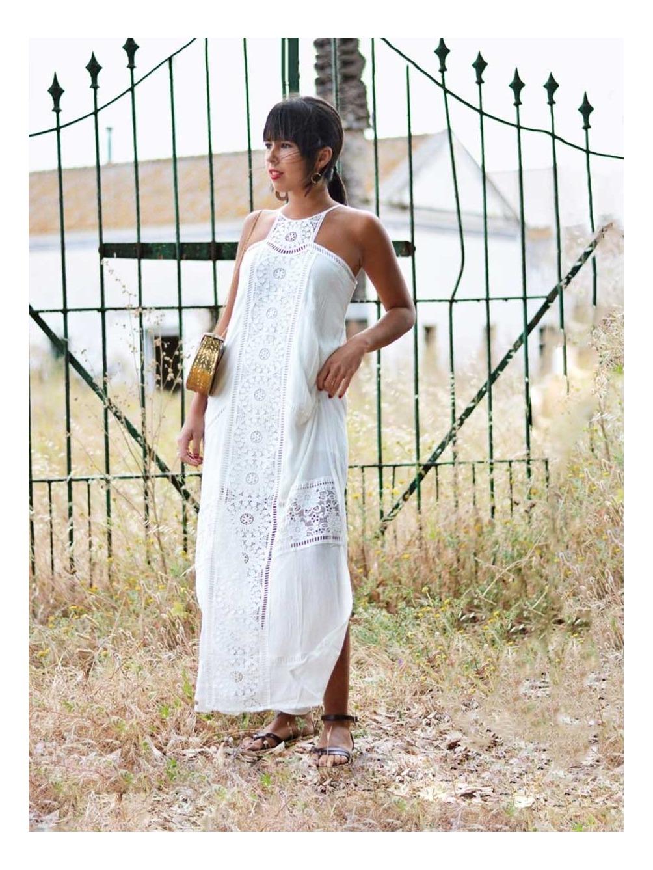 Vestido Mykonos, vestido blanco, vestido largo, Mariquita Trasquilá