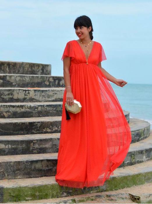 Vestido Largo Aitana, tienda online de vestidos de fiesta, vestido rojo, Mariquita Trasquilá