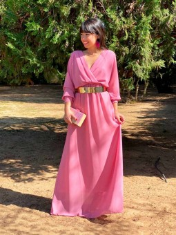 Vestido Fiesta Largo A.L., tienda de vestidos baratos, vestido rosa, Mariquita Trasquilá