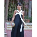 Vestido Largo Nuria M.T., invitada perfecta, vestido negro, Mariquita Trasquilá