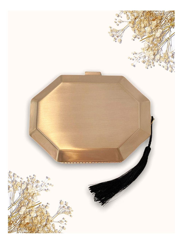 Bolso Clutch Heptágono, bolso dorado, bolso pequeño, Mariquita Trasquilá