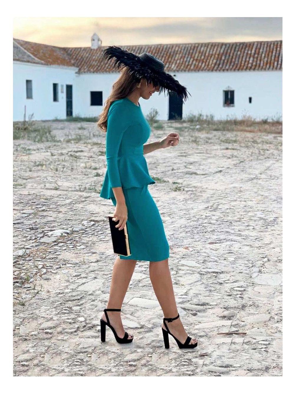 Vestido Fiesta Peplum Sara, vestido midi, invitada perfecta, Mariquita Trasquila