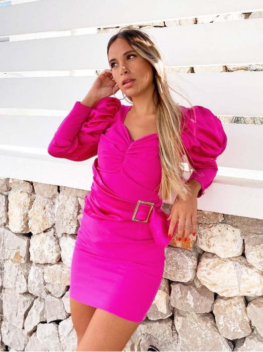 Vestidos baratos, Vestido Corto Aurora, vestido rosa, Mariquita Trasquilá
