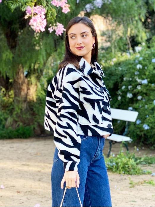 Cazadora Print Cebra, chaqueta casual, tienda de ropa barata, Mariquita Trasquilá